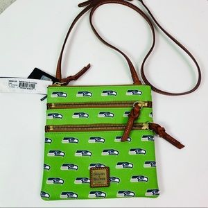 NWT Dooney &Bourke Green Seahawks Triple zip Xbody